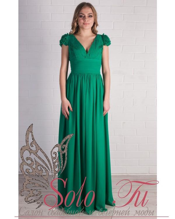 Платье выпускное изумрудное